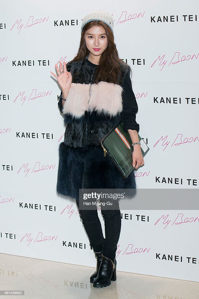 South Korean actress <a gi-track='captionPersonalityLinkClicked' href=/galleries/search?phrase=Kim+So-Eun&family=editorial&specificpeople=6670654 ng-click='$event.stopPropagation()'>Kim So-Eun</a> attends the launch event for 'My Boon' Kanei Tei Military Collection at My Boon on January 9, 2015 in Seoul, South Korea.