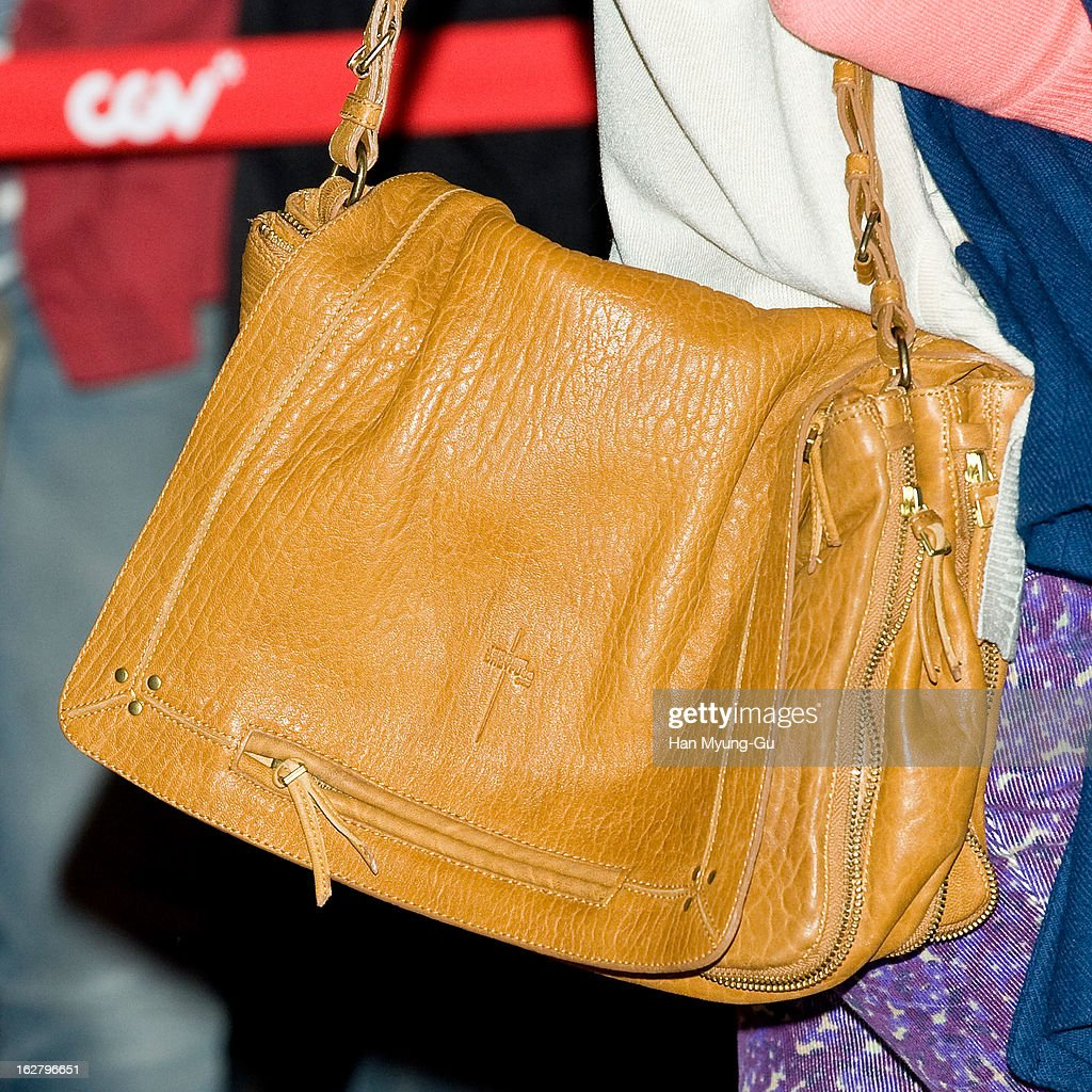 South Korean actress Kim So-Eun (handbag detail) attends the 'Psychometry' VIP Screening at CGV on February 26, 2013 in Seoul, South Korea. The film will open on March 07 in South Korea.
