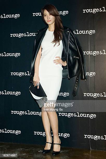South Korean actress Kim SooHyun attends a promotional event for the 'Rouge Lounge' launching party at Inter Wired Studio on February 21 2013 in...