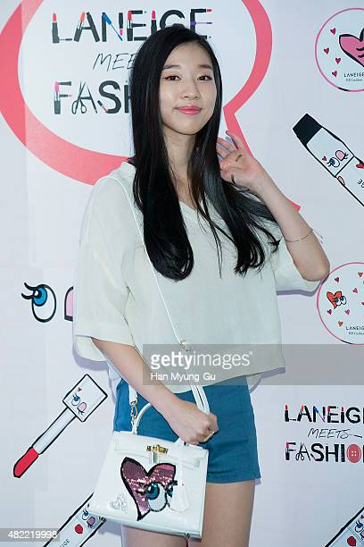 South Korean actress Kim SunA attends the photocall for LANEIGE X PlayNoMore Collaboration on July 28 2015 in Seoul South Korea