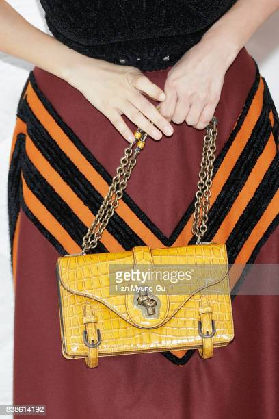South Korean actress Kim SunA bag detail attends the photocall for 'Bottega Veneta' 2017 FW Collection on August 24 2017 in Seoul South Korea
