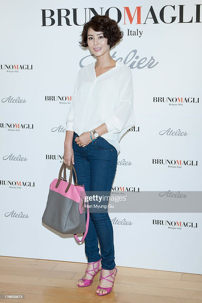 South Korean actress <a gi-track='captionPersonalityLinkClicked' href=/galleries/search?phrase=Kim+Sung-Ryung&family=editorial&specificpeople=8844958 ng-click='$event.stopPropagation()'>Kim Sung-Ryung</a> attends during the 'Bruno Magli' atelier store grand opening in Seoul on August 16, 2013 in Seoul, South Korea.