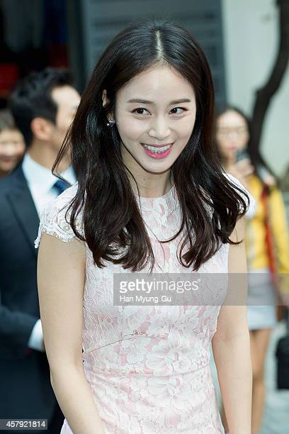 South Korean actress Kim TaeHee attends promotional event for the 'O HUI' 2014 Beautiful Face Campaigns on October 26 2014 in Seoul South Korea
