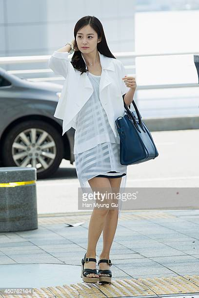 South Korean actress Kim TaeHee is seen on departure at Incheon International Airport on June 14 2014 in Incheon South Korea