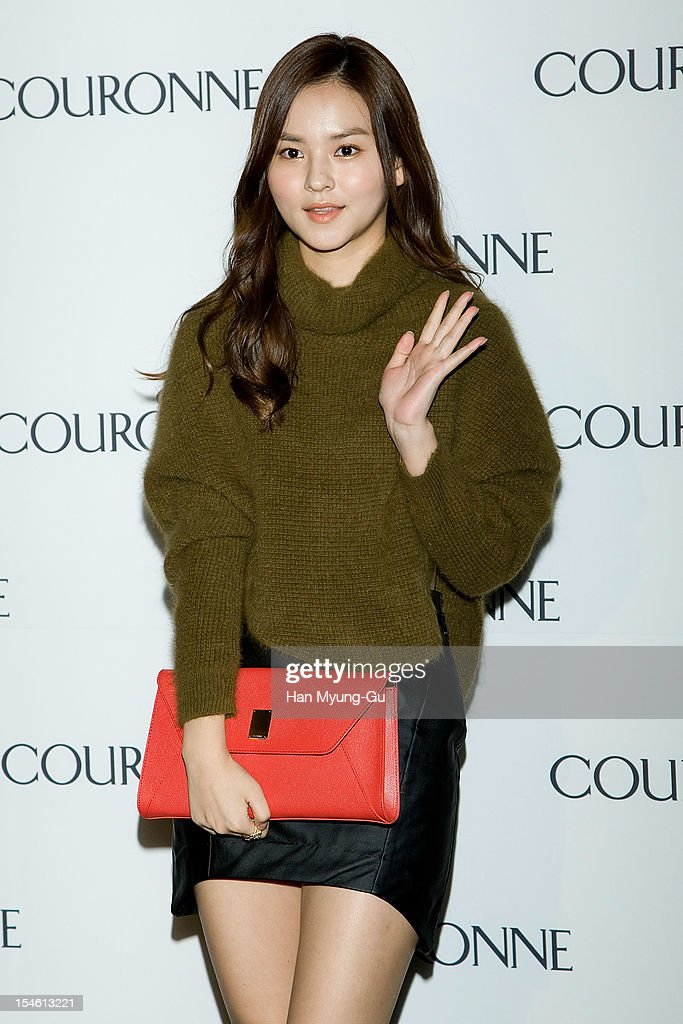 South Korean actress Kim Yoon-Hae (Kim Yun-Hae) attends during the Promotional event of 'Couronne' Flagship Store Renewal Opening Party at Couronne Gangnam Store on October 23, 2012 in Seoul, South Korea.