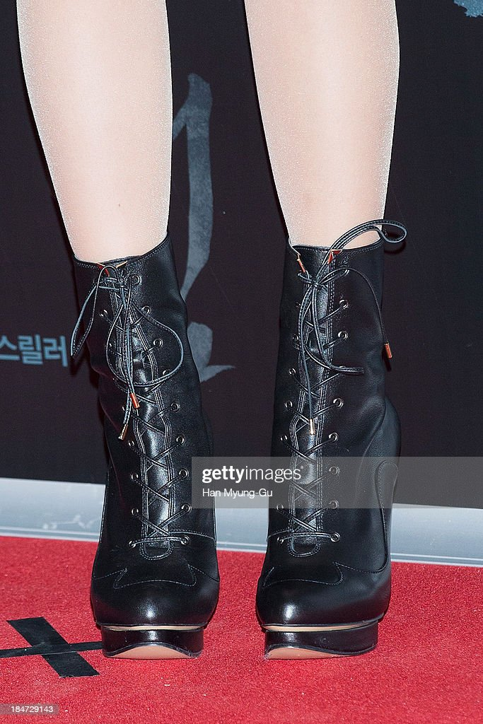 South Korean actress Kim Yun-Seo (shoe detail) attends 'The Accomplice' VIP screening at CGV on October 15, 2013 in Seoul, South Korea. The film will open on October 24, in Soth Korea.