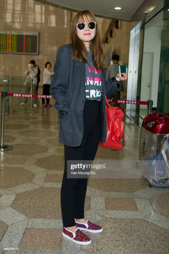 South Korean actress Kong HyoJin is seen on departure at Gimpo International Airport on April 15 2014 in Seoul South Korea