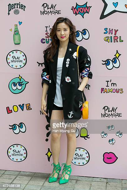 South Korean actress Lee ChungAh attends the photocall for 'PlayNoMore' PopUp Store at the Beaker on May 7 2015 in Seoul South Korea