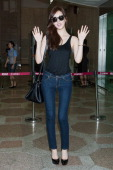 South Korean actress Lee DaHey is seen on departure at Gimpo International Airport on August 5 2013 in Seoul South Korea