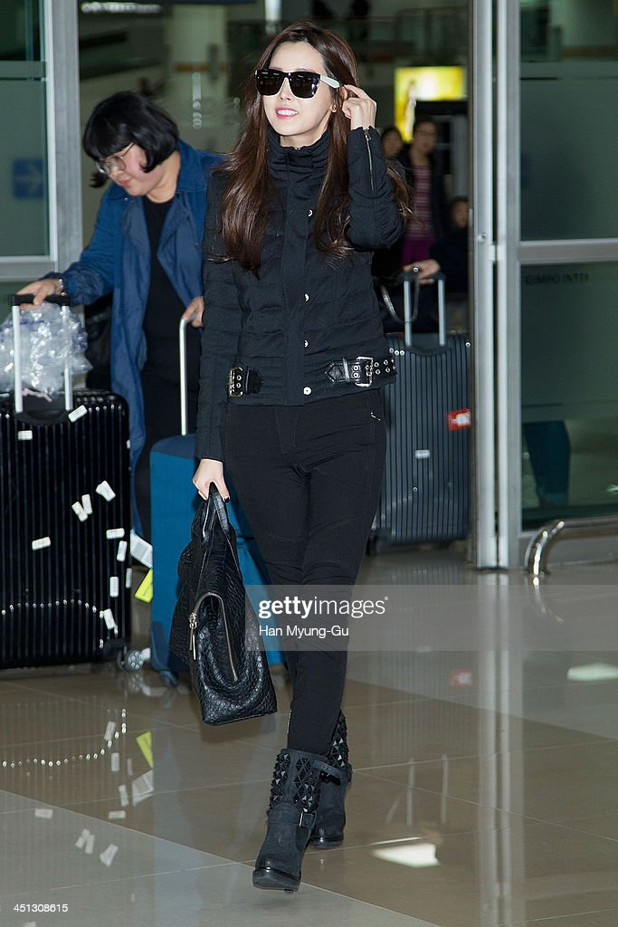 South Korean actress Lee DaHey is seen upon arrival at Gimpo International Airport on November 21 2013 in Seoul South Korea