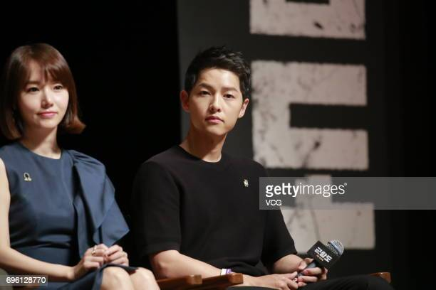 South Korean actress Lee JungHyun and South Korean actor Song JoongKi attend the press conference of film 'Battleship Island' on June 15 2017 in...