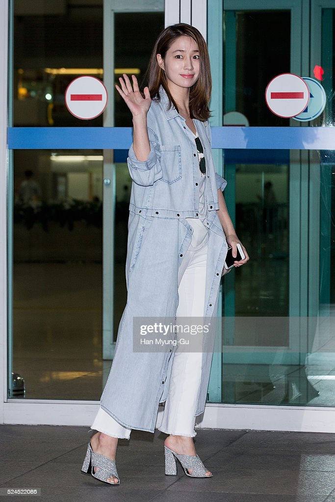 South Korean actress Lee MinJung is seen on departure at Incheon International Airport on April 26 2016 in Incheon South Korea