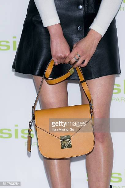 South Korean actress Lee SiYoung bag detail attends the launch party for Sisley 'SISLEYA L'Integral AntiAge' on February 25 2016 in Seoul South Korea