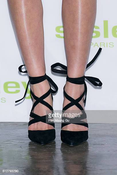 South Korean actress Lee SiYoung shoe detail attends the launch party for Sisley 'SISLEYA L'Integral AntiAge' on February 25 2016 in Seoul South Korea