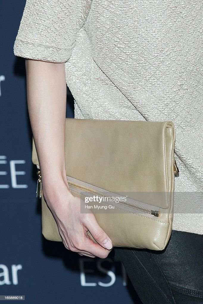 South Korean actress Lee Soo-Kyung (bag detail) attends the 'Estee Lauder' Double Wear Lounge opening at Coffee Smith on April 5, 2013 in Seoul, South Korea.