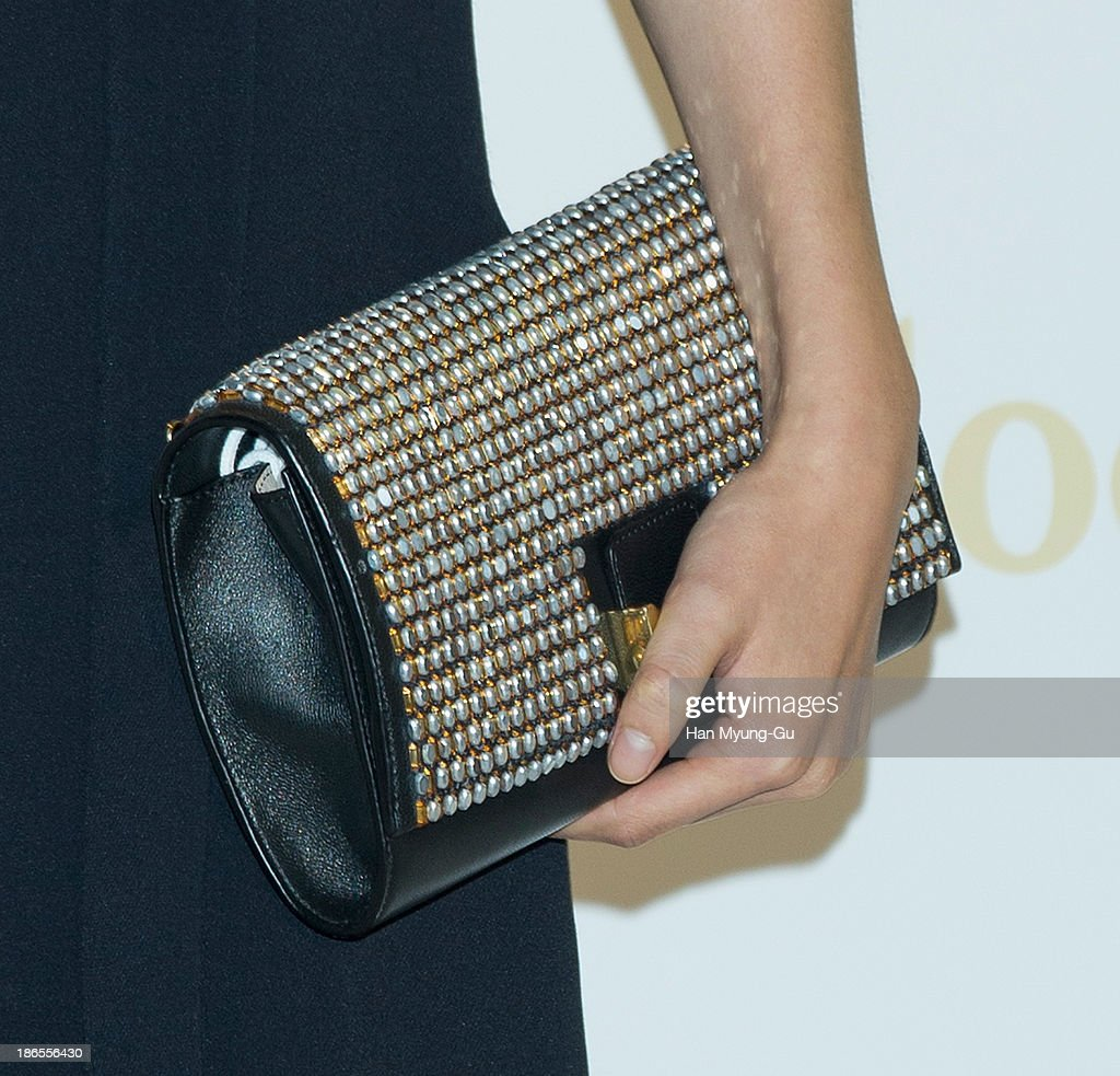 South Korean actress Lee Yeon-Hee (bag detail) attends 'Chloe' flagship store grand opening event at Chloe Gangnam Store on November 1, 2013 in Seoul, South Korea.