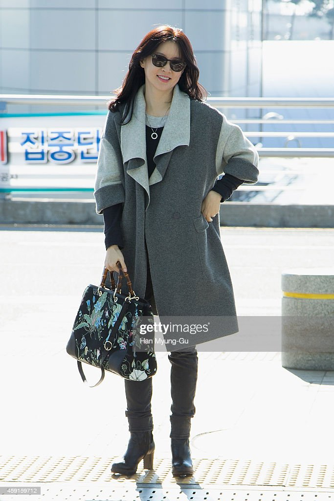 South Korean actress Lee YoungAe is seen on departure at Incheon International Airport on November 18 2014 in Incheon South Korea