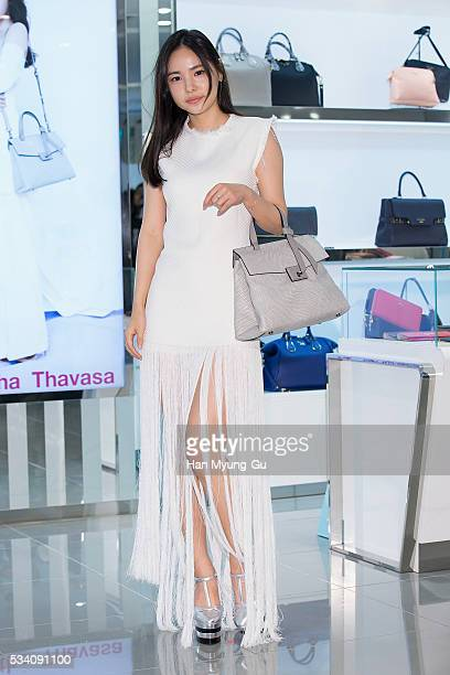 South Korean actress Min HyoRin appears at the 'Samantha Thavasa' store at Lotte Department Store on May 25 2016 in Seoul South Korea