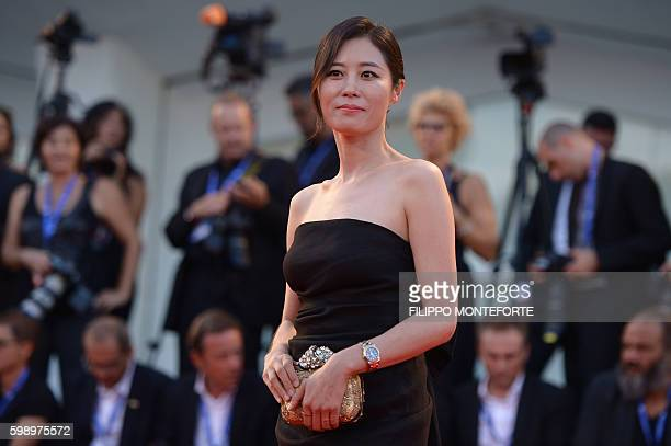 South Korean actress Moon Sori arrives for the premiere of 'The Young Pope' presented out of competition at the 73rd Venice Film Festival on...