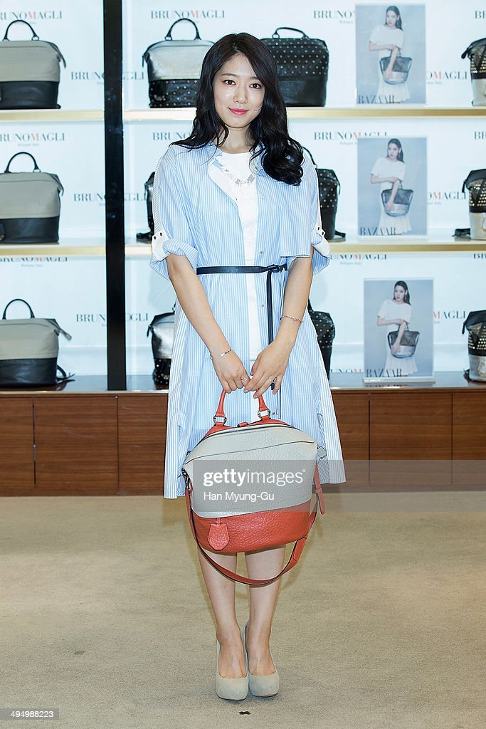 South Korean actress Park ShinHye attends a promotional event for the 'Bruno Magli' on May 31 2014 in Seoul South Korea