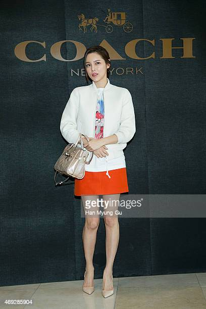 South Korean actress Park SiYeon attends the renewal opening for the COACH at Lotte Department Store on April 10 2015 in Seoul South Korea