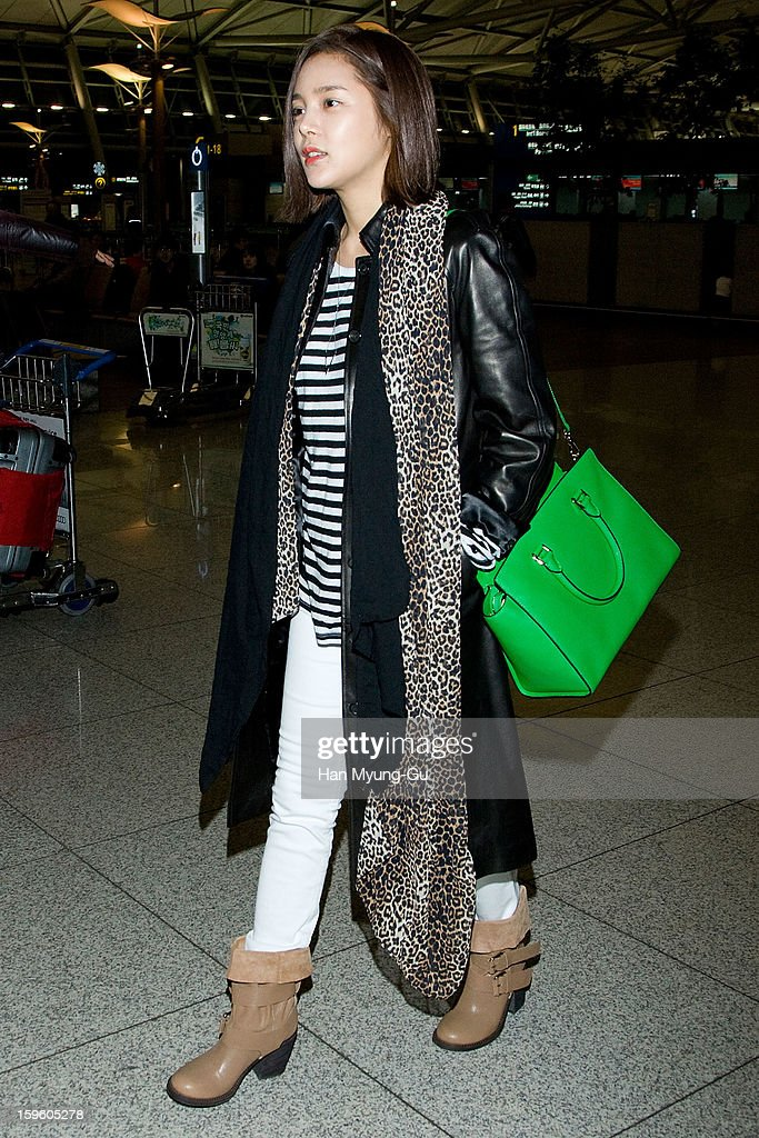 South Korean actress Park Si-Yeon is seen at Incheon Inaternational Airport on January 16, 2013 in Incheon, South Korea.