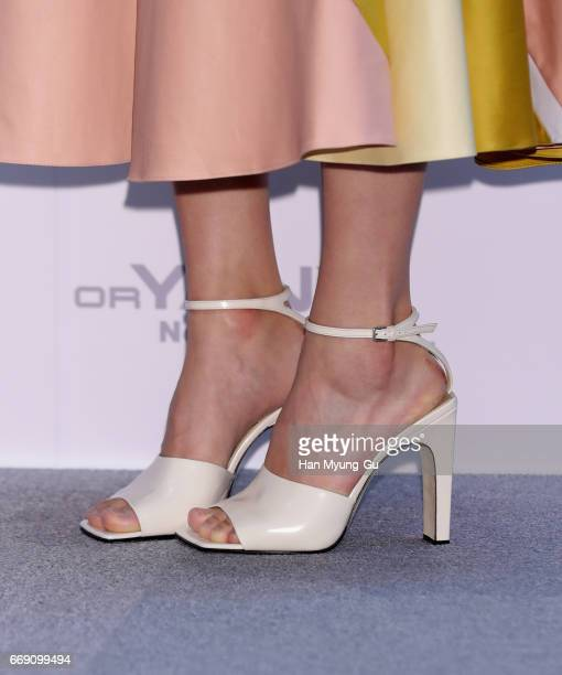 South Korean actress Park SuJin shoe detail attends the autograph session for 'orYANY' at the Starfield Hanam on April 15 2017 in Haman South Korea