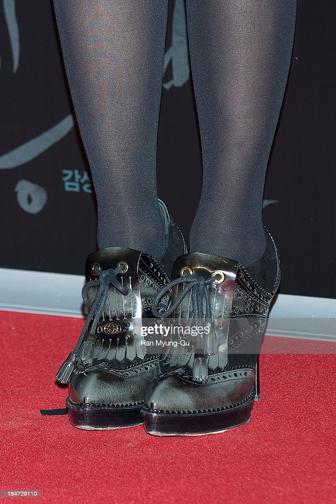 South Korean actress Rhee Min-Jung (Lee Min-Jung) (shoe detail) attends 'The Accomplice' VIP screening at CGV on October 15, 2013 in Seoul, South Korea. The film will open on October 24, in Soth Korea.