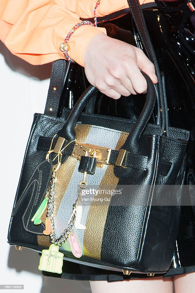 South Korean actress Seo Woo (handbag detail) attends the 'Suecomma Bonnie' 10th Anniversary Exhibition at Conrad Hotel on March 29, 2013 in Seoul, South Korea.