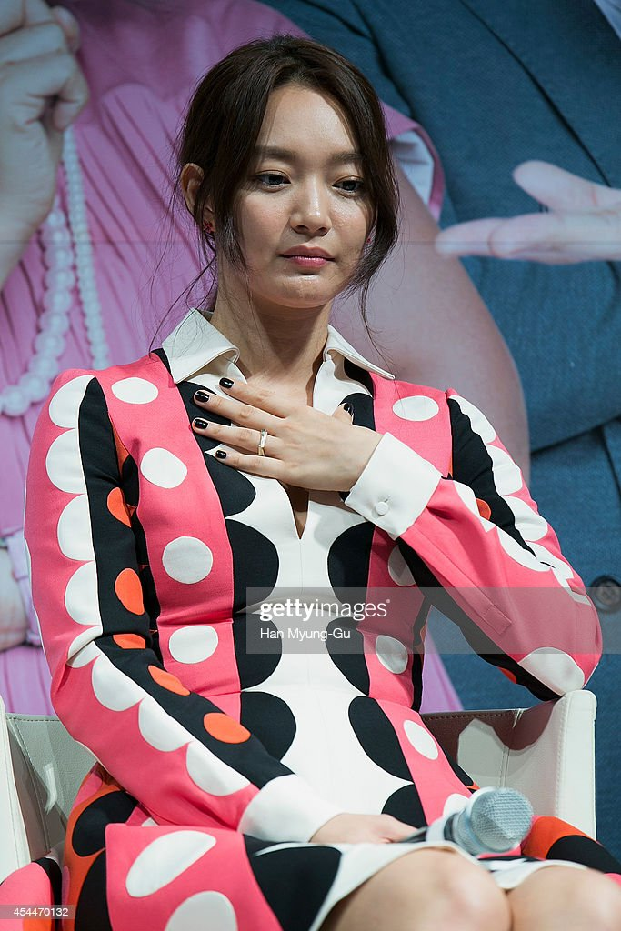 South Korean actress <a gi-track='captionPersonalityLinkClicked' href=/galleries/search?phrase=Shin+Min-A&family=editorial&specificpeople=5547567 ng-click='$event.stopPropagation()'>Shin Min-A</a> attends the press conference for 'My Love My Bride' at CGV on September 1, 2014 in Seoul, South Korea.