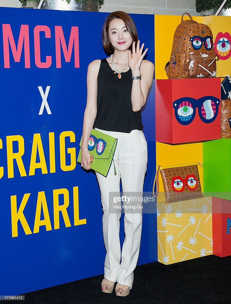 South Korean actress So E-Hyun poses for media during a promotional event for the MCM Collaboration with GRAIG & KARL 'Eyes On The Horizon' at Lotte Department Store on June 21, 2013 in Seoul, South Korea.
