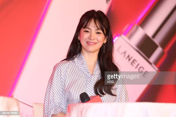 South Korean actress Song Hye Kyo attends a promotional event of cosmetics brand Laneige on February 23 2017 in Taipei Taiwan of China