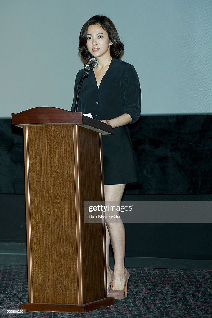 South Korean actress Song Hye-Kyo attends press conference after the press screening of 'My Brilliant Life' at CGV on August 21, 2014 in Seoul, South Korea. Song Hye-Kyo apologized for committing tax evasion, stating in a press release that she 'deeply regrets mishandling her tax affairs due to ignorance'.