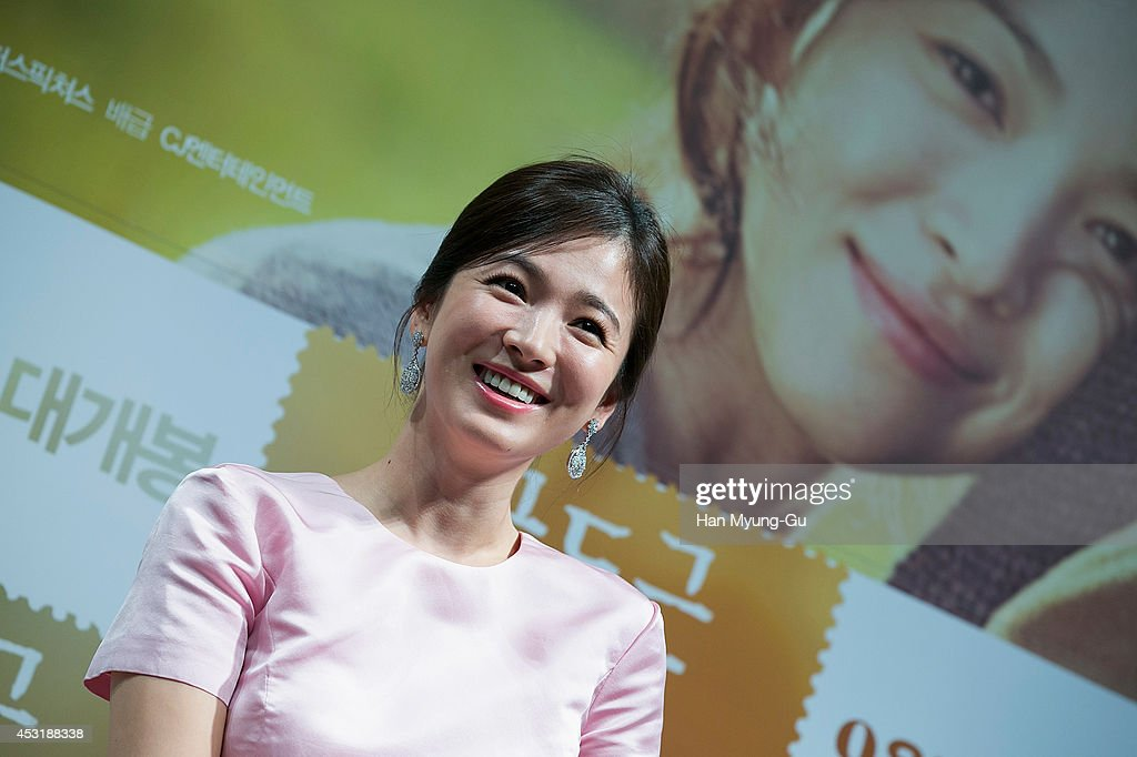 South Korean actress <a gi-track='captionPersonalityLinkClicked' href=/galleries/search?phrase=Song+Hye-Kyo&family=editorial&specificpeople=4238502 ng-click='$event.stopPropagation()'>Song Hye-Kyo</a> attends the press conference for 'My Brilliant Life' at CGV on August 4, 2014 in Seoul, South Korea. The film will open on September 03, in South Korea.
