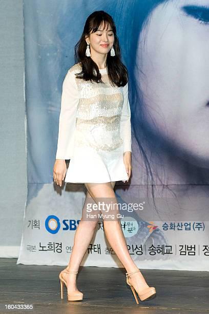 South Korean actress Song HyeKyo attends the SBS Drama 'Baramibunda' press conference at Blue Square Samsung Card Hall on January 31 2013 in Seoul...