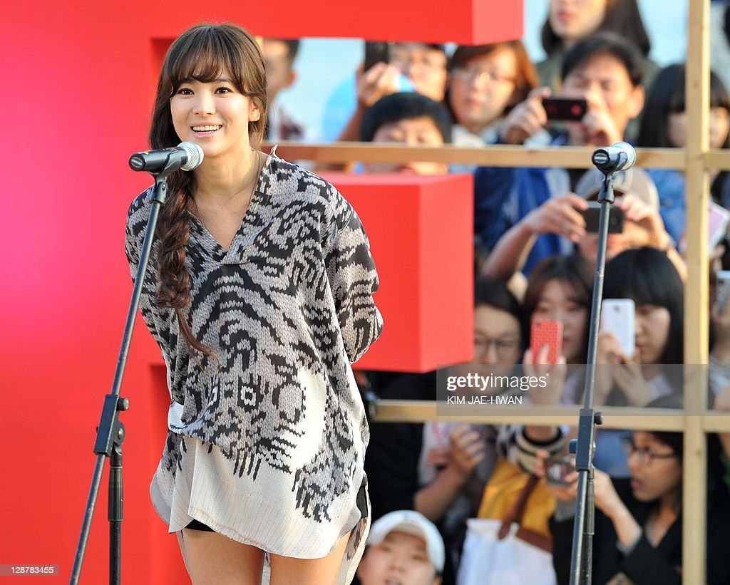 South Korean actress Song Hye-Kyo speaks during the greeting event for the film 'A Reason to live' during the Busan International Film Festival (BIFF) on October 8, 2011