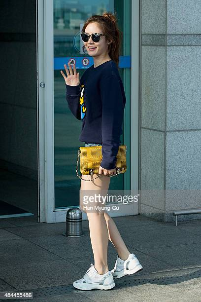 South Korean actress Sung YuRi is seen on departure at the Incheon International Airport on August 18 2015 in Incheon South Korea