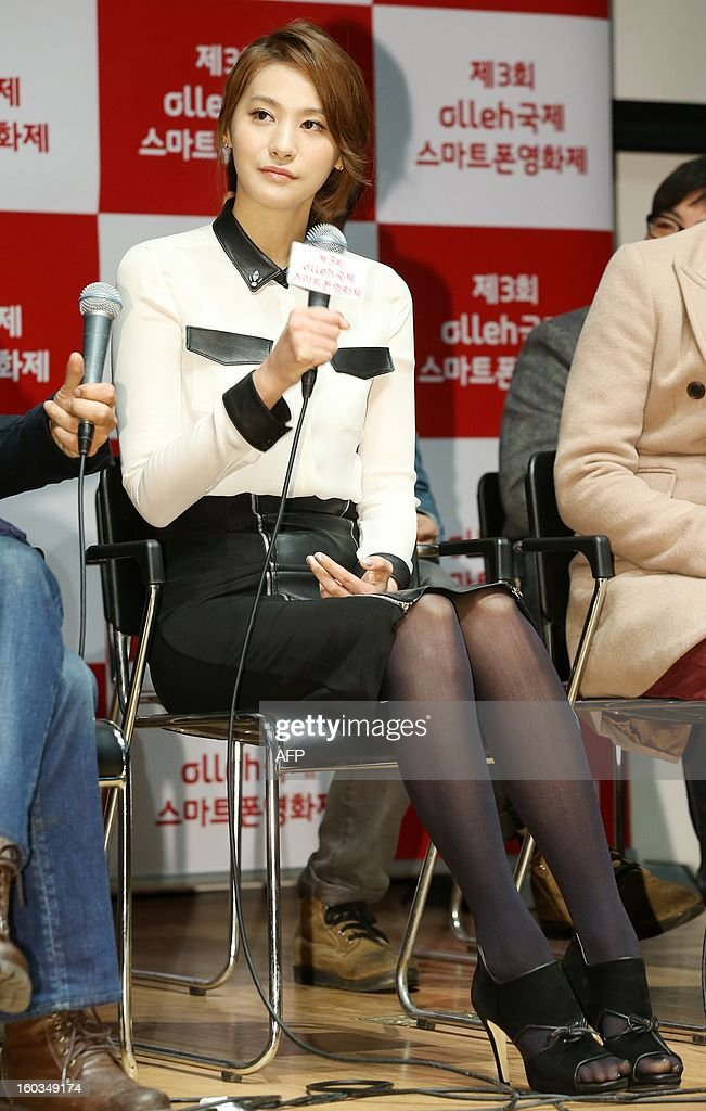 South Korean actress Yoo In-Young speaks at a press conference for a smartphone movie festival at downtown Seoul on January 29, 2013. REPUBLIC OF KOREA OUT JAPAN OUT AFP PHOTO/STARNEWS
