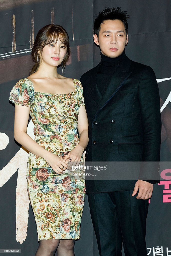 South Korean actress <a gi-track='captionPersonalityLinkClicked' href=/galleries/search?phrase=Yoon+Eun-Hye&family=editorial&specificpeople=4342448 ng-click='$event.stopPropagation()'>Yoon Eun-Hye</a> and <a gi-track='captionPersonalityLinkClicked' href=/galleries/search?phrase=Park+Yoo-Chun&family=editorial&specificpeople=7444749 ng-click='$event.stopPropagation()'>Park Yoo-Chun</a> of boy band JYJ attend during a press conference to promote the MBC drama 'Miss You' on November 01, 2012 in Seoul, South Korea. The drama will open on November 07 in South Korea.