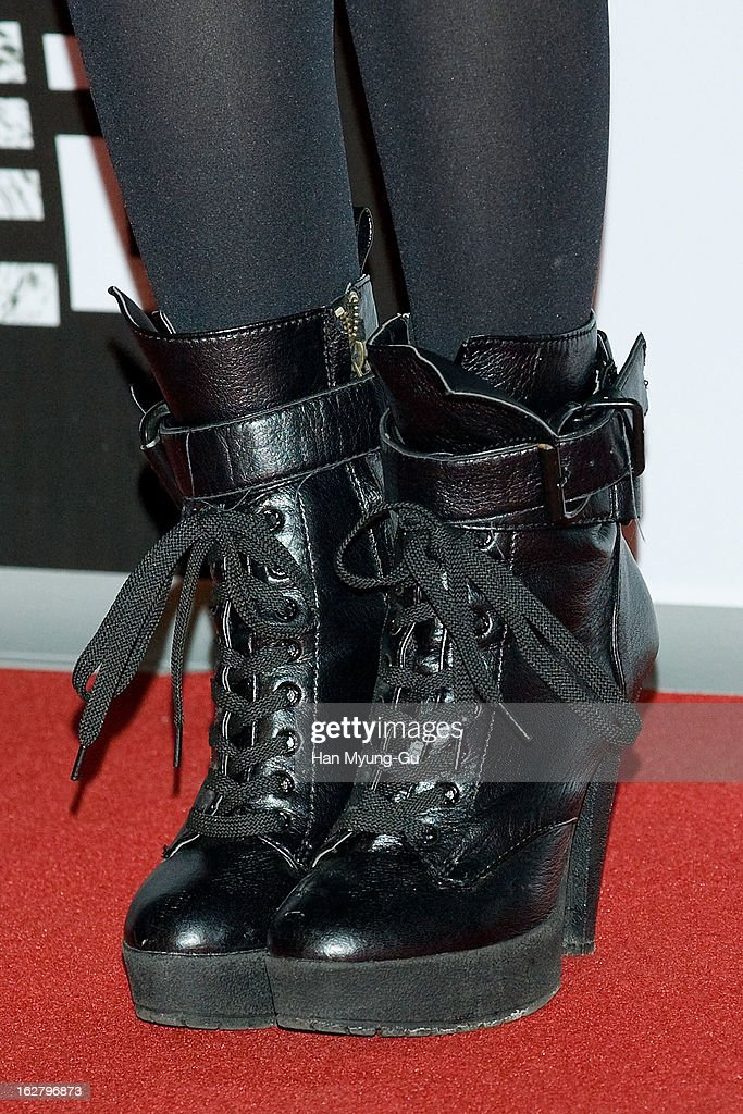 South Korean actress Yoon Ji-Ni (shoe detail) attends the 'Psychometry' VIP Screening at CGV on February 26, 2013 in Seoul, South Korea. The film will open on March 07 in South Korea.