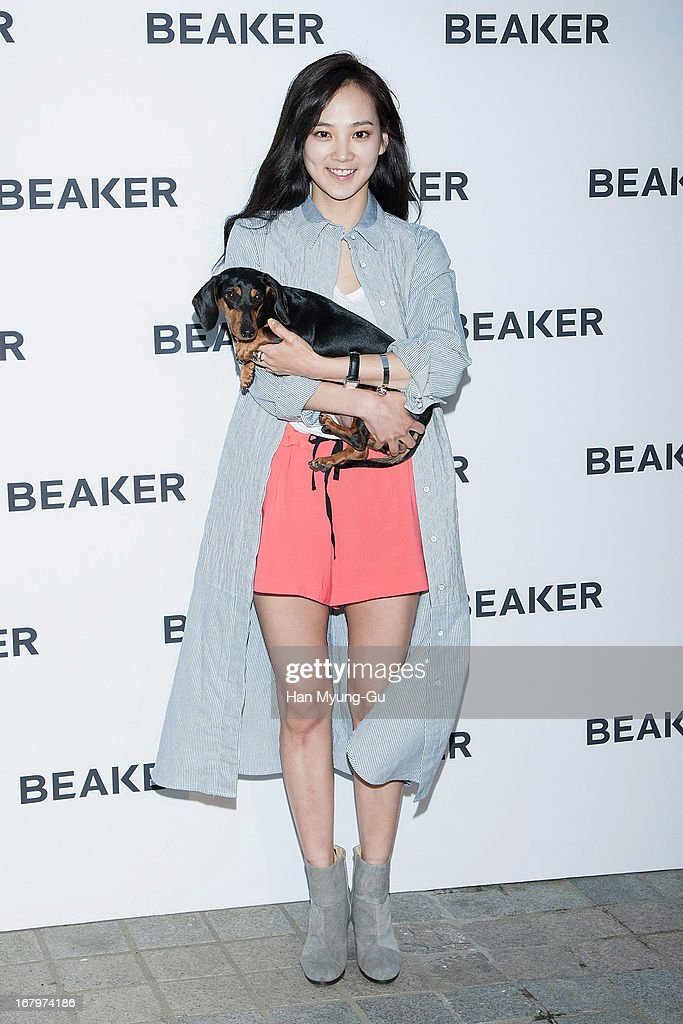 South Korean actress Yoon Seung-A and her pet attends a promotional event for the 'BEAKER' Gangnam Flagship Store Opening on May 3, 2013 in Seoul, South Korea.