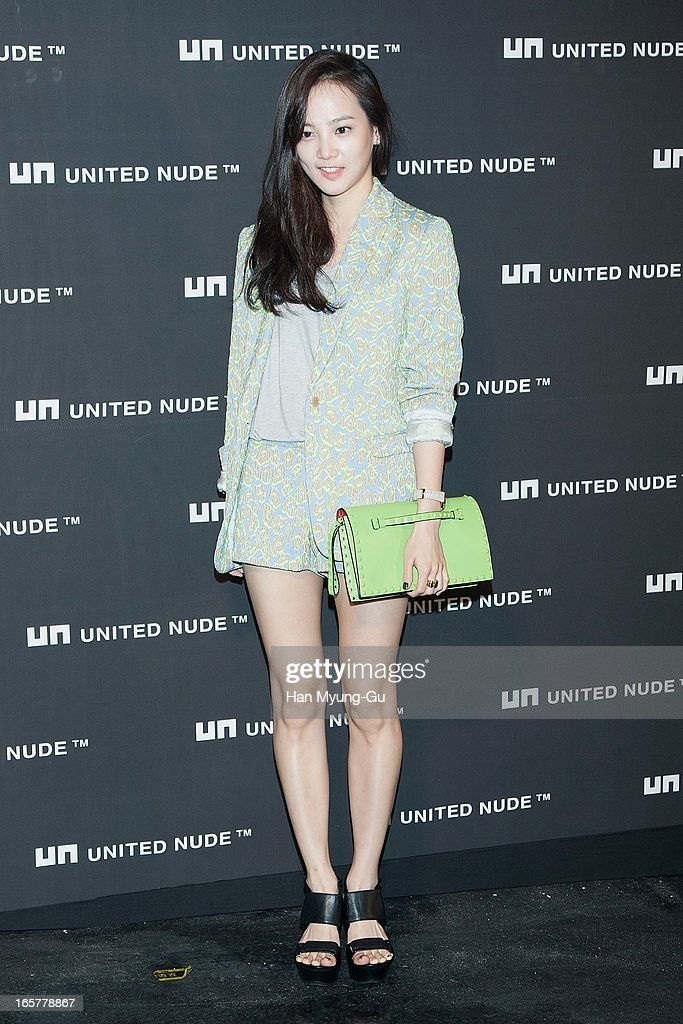 South Korean actress Yoon Seung-A poses for media the 'United Nude' flagship store opening at United Nude Gangnam Store on April 5, 2013 in Seoul, South Korea.