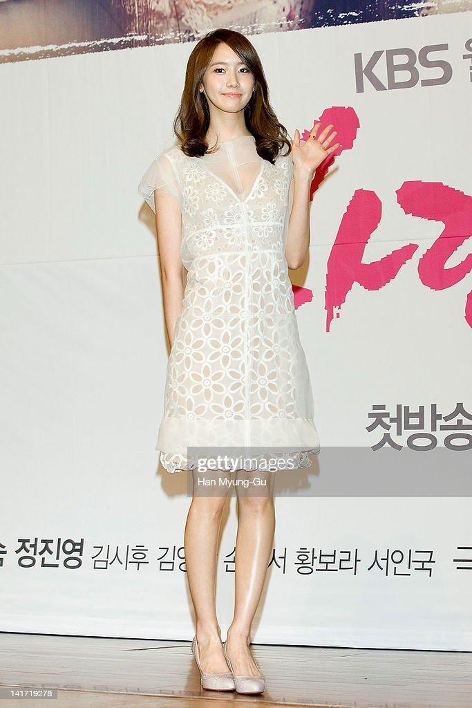 South Korean actress Yoona of KPop girl group Girls' Generation attends a press conference to promote KBS drama 'Love Rain' at Lotte Hotel on March...