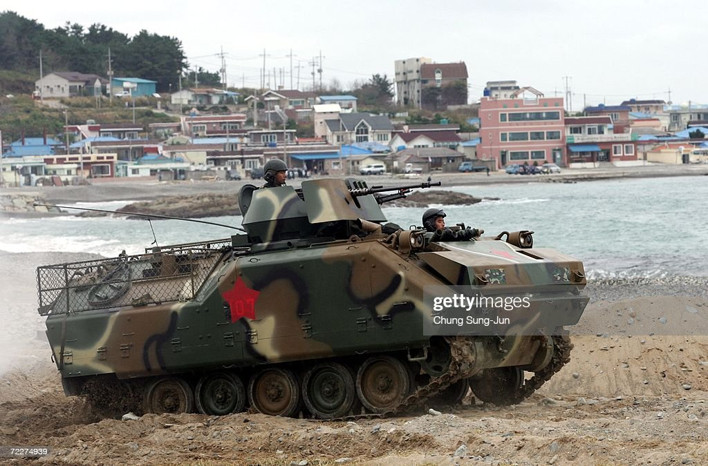 South Korean amphibious assault vehicles moves into position during a landing operations for possible threats from North Korea at Pohang beach on October 26, 2006 in Pohang, South Korea. South Korea will be enforcing U.N. sanctions after North Korea tested its nuclear capabilites in an underground blast on October 9.