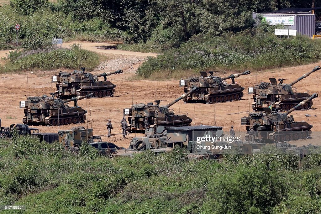 South Korean army's K-55 Self-Propelled Artillery participate in a live fire exercise on September 15, 2017 in Paju, South Korea. North Korea launched a ballistic missile over Japan just days after the U.N. Security Council adopted new sanctions against the regime over its sixth nuclear test on Sept. 3.