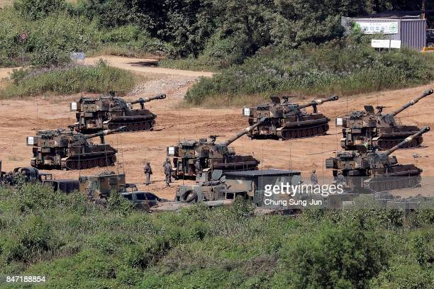 South Korean army's K55 SelfPropelled Artillery participate in a live fire exercise on September 15 2017 in Paju South Korea North Korea launched a...