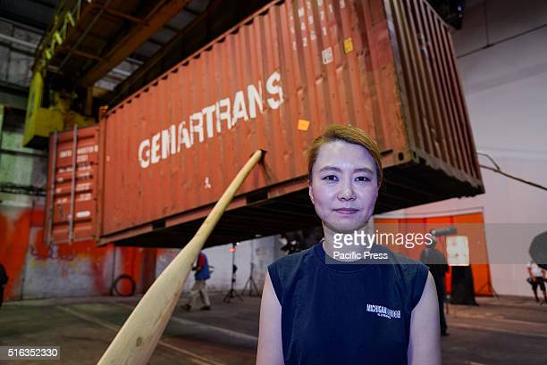ISLAND SYDNEY NSW AUSTRALIA South Korean artist Minouk Lim poses with her artworks at Carriageworks Embassy of Disappearance during the media preview...