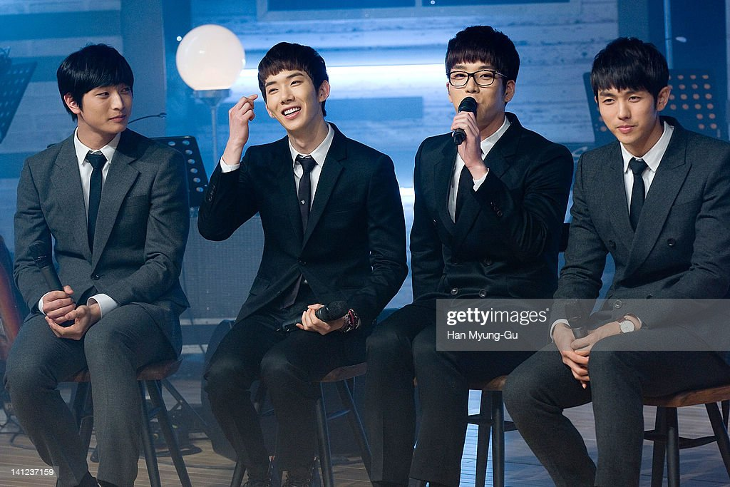 South Korean boy band 2AM attends during live their 2th mini album 'F.Scott Fitzgerald's Way Of Love' Showcase event at Ilchi Art Hall on March 13, 2012 in Seoul, South Korea.