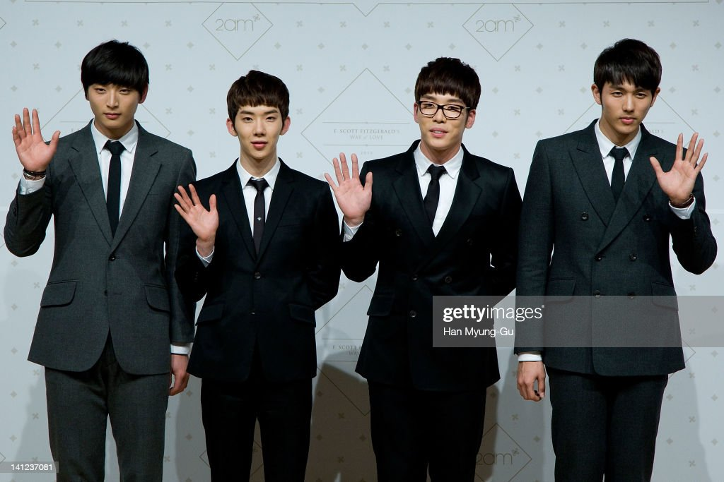 South Korean boy band 2AM poses for media after live their 2th mini album 'F.Scott Fitzgerald's Way Of Love' Showcase event at Ilchi Art Hall on March 13, 2012 in Seoul, South Korea.
