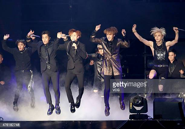 South Korean boy band Beast performs onstage during their live show on June 6 2015 in Taipei Taiwan of China
